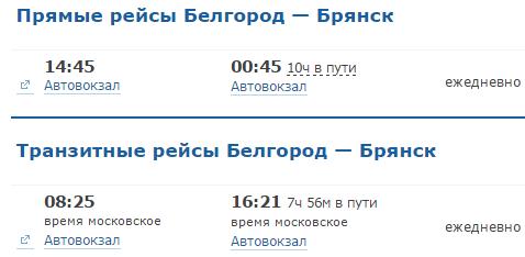 Расписание электричек брянск белгород