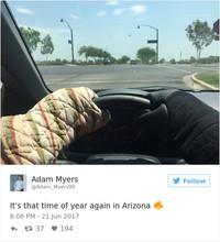 Жители Аризоны делятся в сети снимками о том, как все вокруг «тает» из-за жары