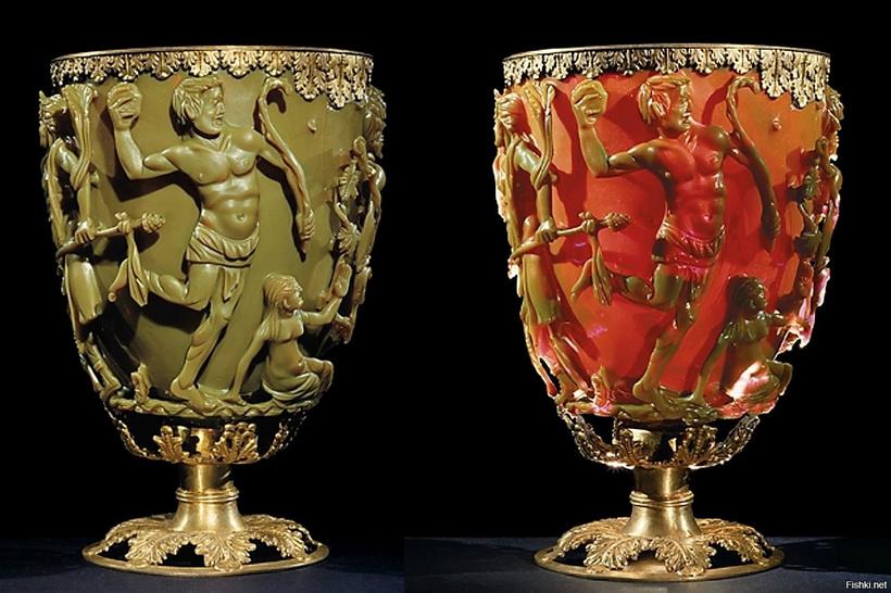 Кубок Ликурга, меняющий цвет: древние римляне владели уникальными нанотехнологиями