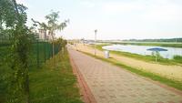Пляж на Гребном канале в Бресте. Майское утро.