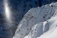 Сноубордистка Кэролайн Глич на вершине горы Супериор, Юта