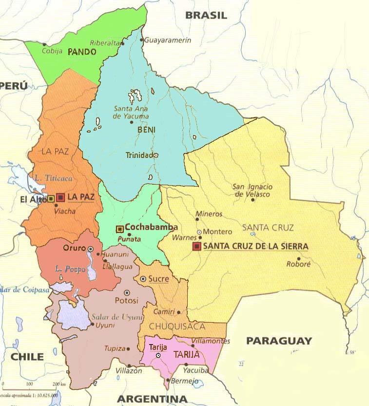 Боливия Многонациональное Государство Боливия. bolivia map3