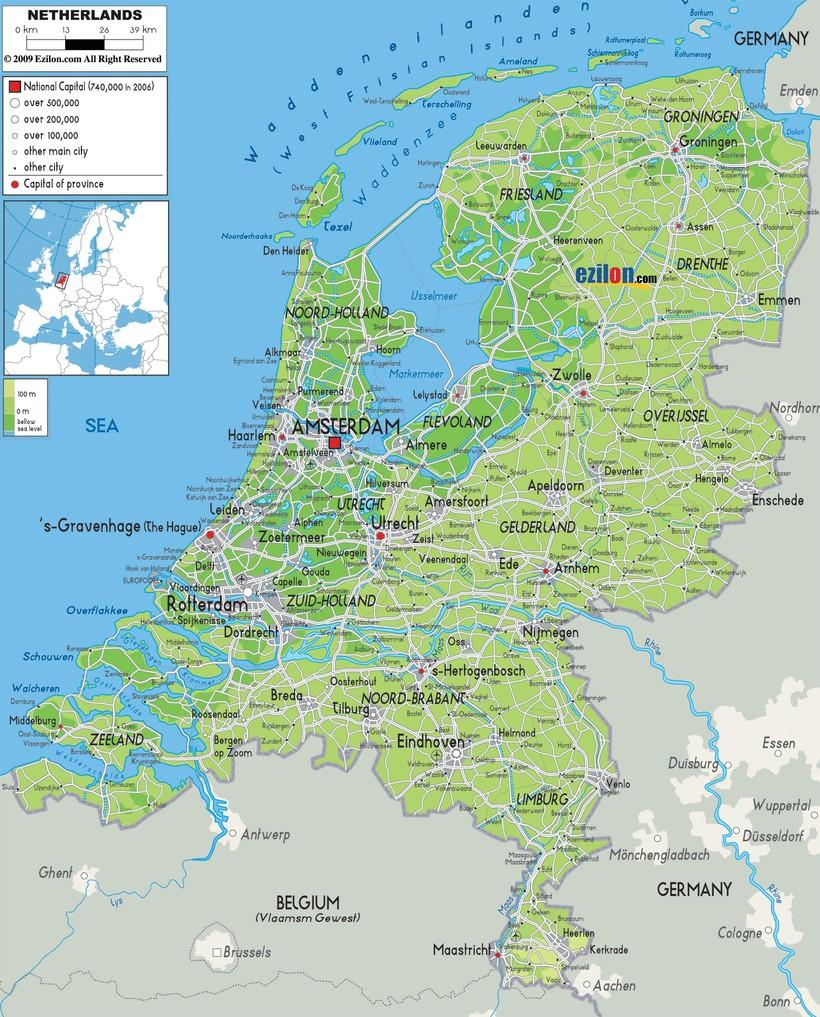 На карте темно-зеленым цветом показаны регионы страны, лежащие ниже уровня моря