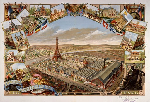 Открытка с изображением Всемирной выставки в Париже в 1889 году