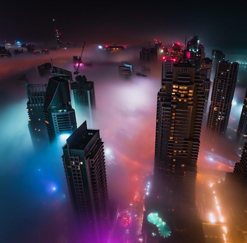Восхитительные городские пейзажи Дубая и Сингапура во время грозы