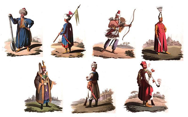 Разные виды костюмов янычар в Османской империи