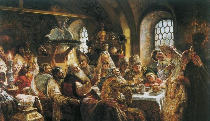 «Боярский свадебный пир». К. Маковский