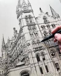 Замысловатые архитектурные чертежи, отражающие красоту готических зданий Европы