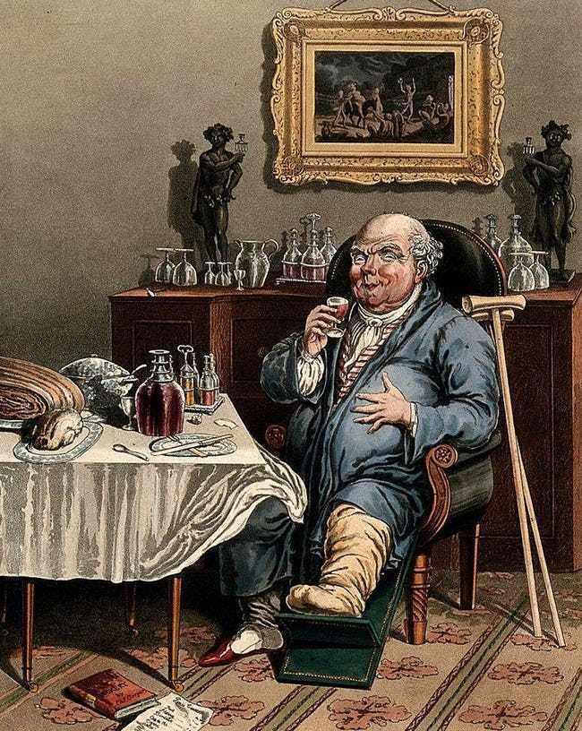 Почему в Британии в 18 веке случилась эпидемия подагры, и как это изменило ход истории