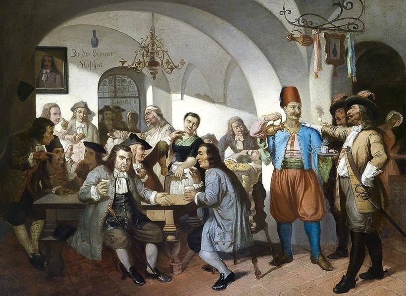 Первая венская кофейня, рисунок XIX века, автор неизвестен