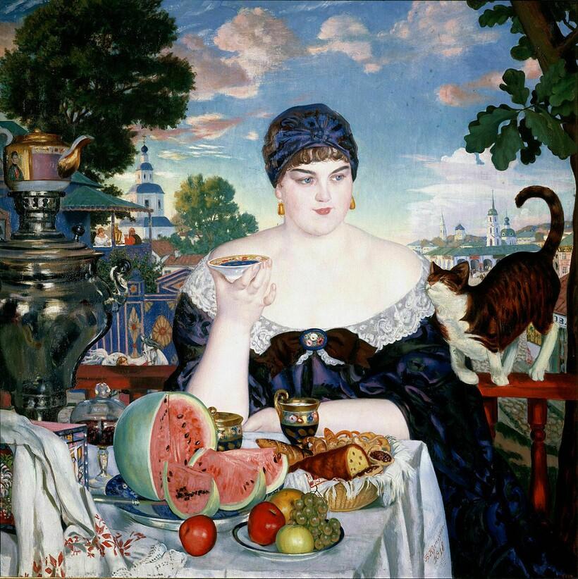 «Купчиха за чаем», 1918 г. Б. Кустодиев
