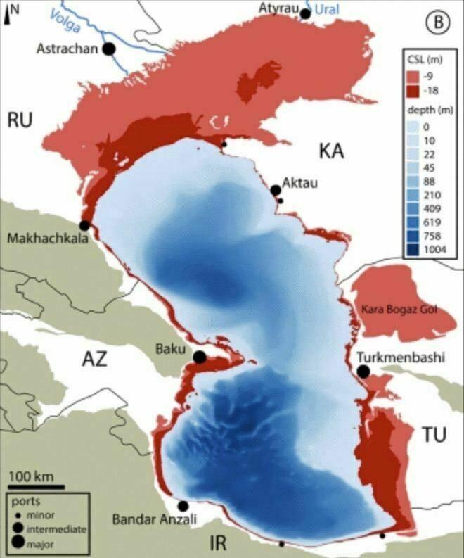 Красным выделены территории, которые могут стать сушей