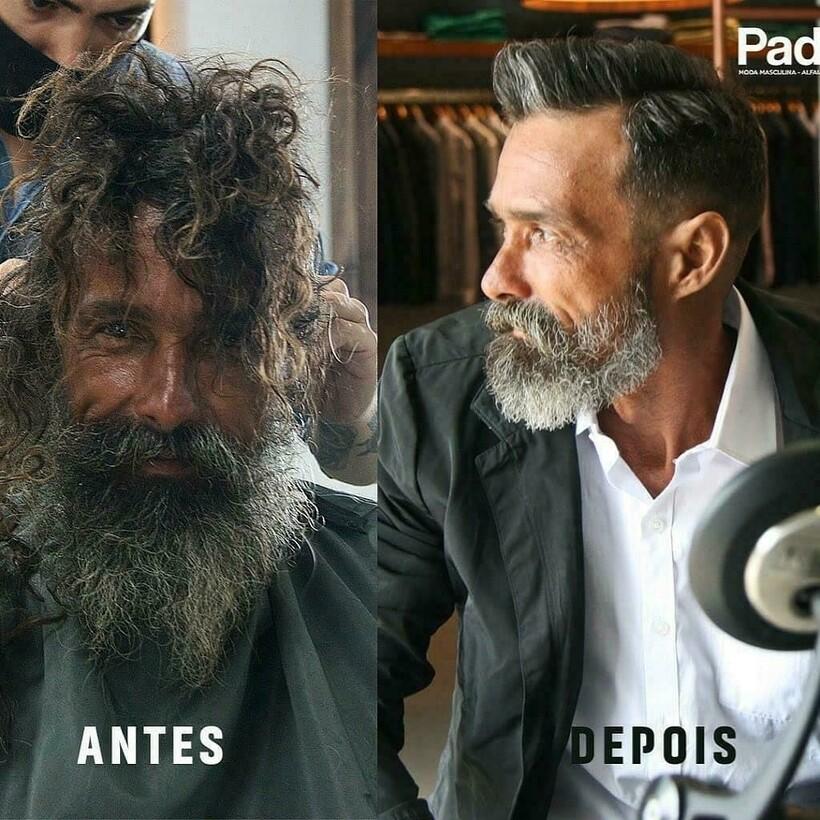 Чудеса бывают: бездомный зашел в салон за бритвой, а в итоге поменял прическу и жизнь