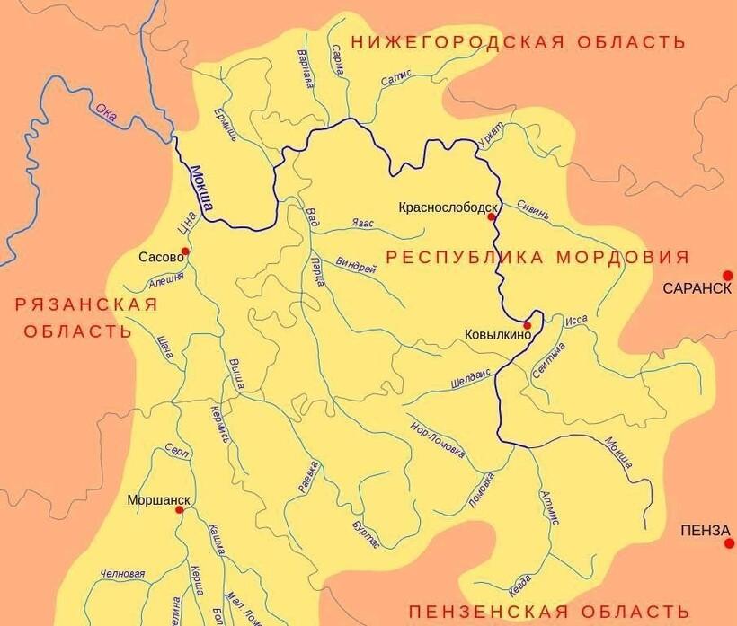 Мокша на карте