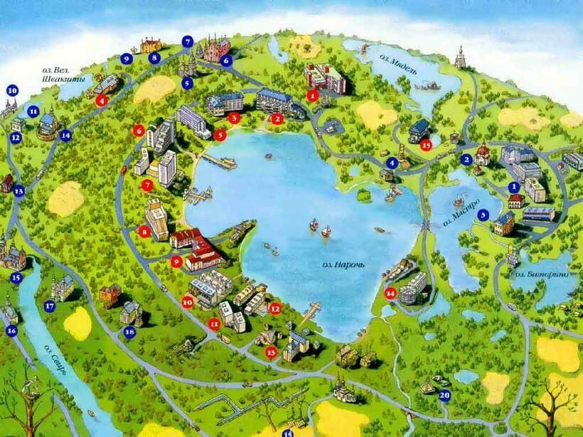 Схема мест отдыха у озера Нарочь