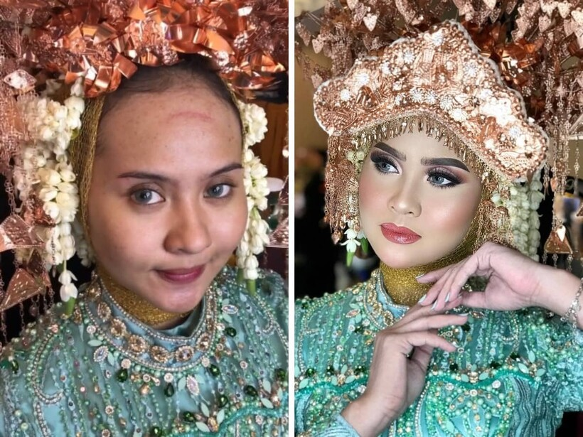 15 фото невест из Азии до и после того, как макияж превратил их в настоящих королев