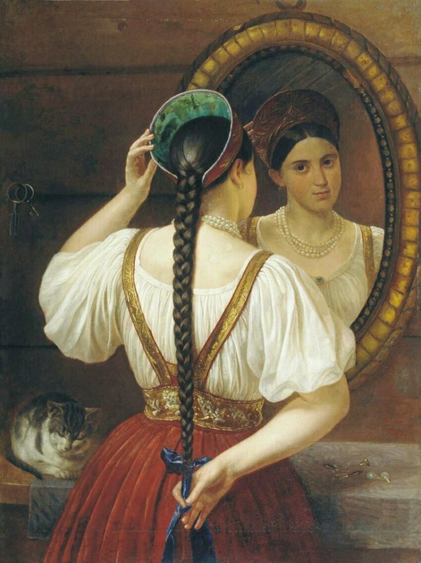 «Девушка перед зеркалом», 1848 г. Ф. Будкин