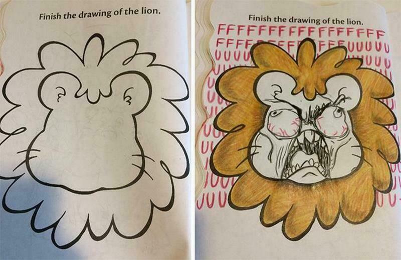 15 забавных примеров, как взрослые испортили детские раскраски