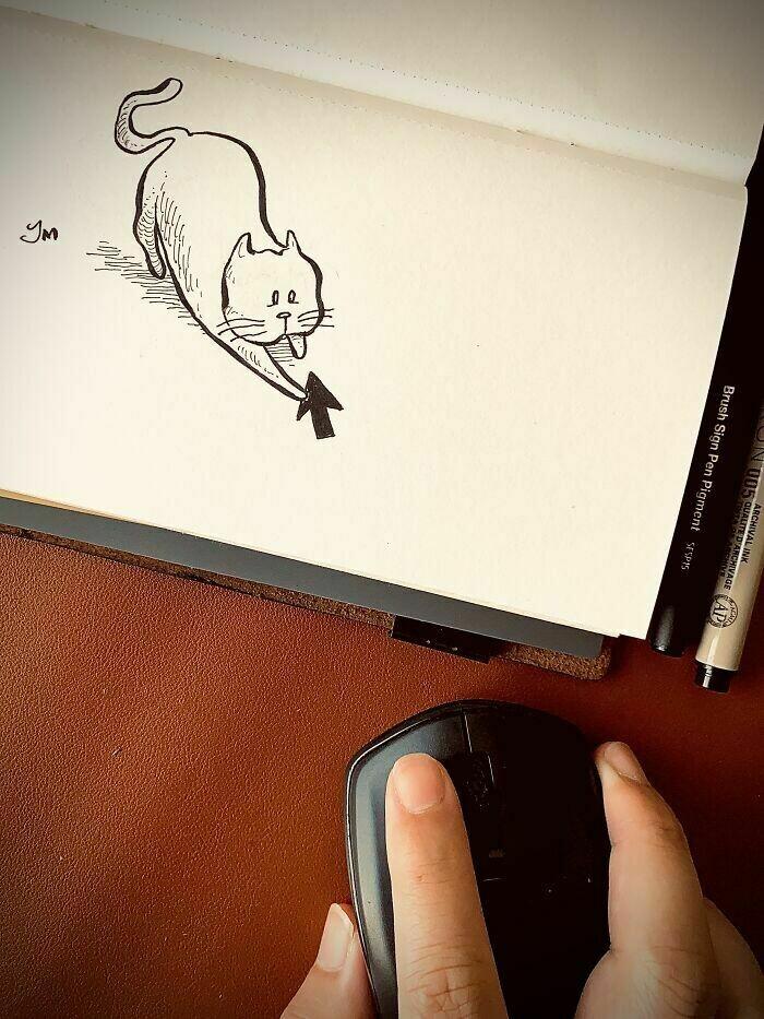 10 работ художника, который объединяет рисунки с повседневными предметами